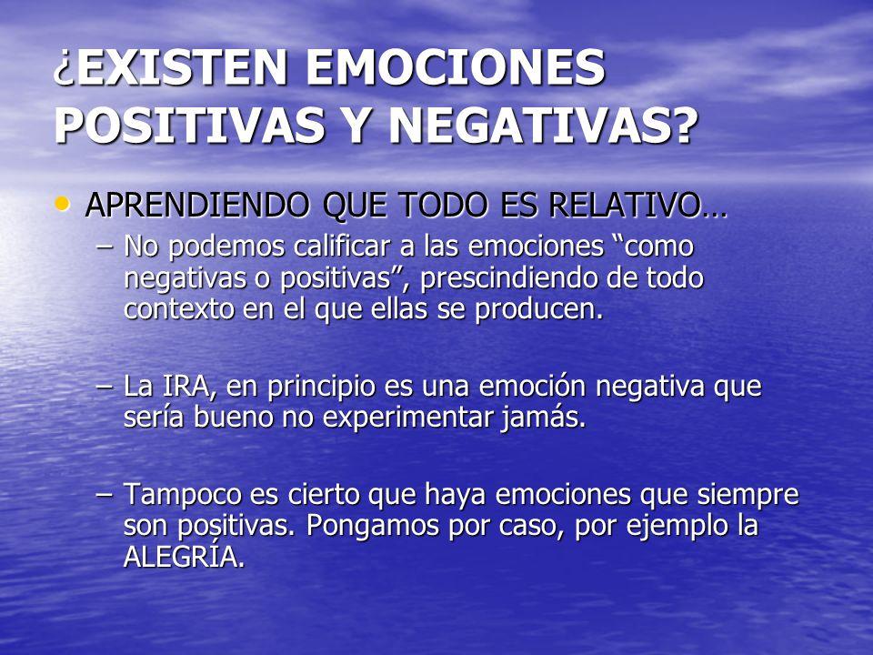 ¿EXISTEN EMOCIONES POSITIVAS Y NEGATIVAS? APRENDIENDO QUE TODO ES RELATIVO… APRENDIENDO QUE TODO ES RELATIVO… –No podemos calificar a las emociones co