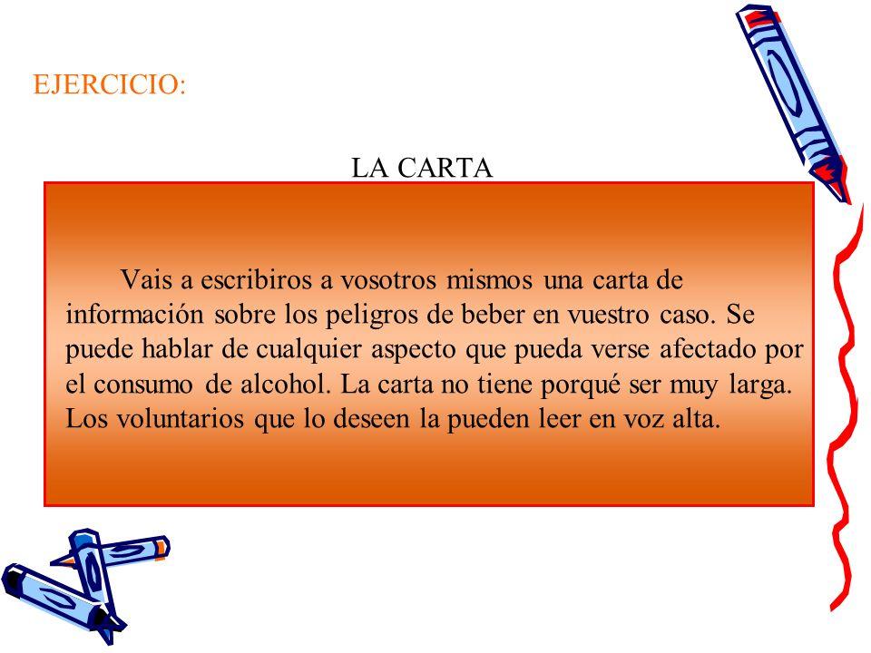 EJERCICIO: LA CARTA Vais a escribiros a vosotros mismos una carta de información sobre los peligros de beber en vuestro caso. Se puede hablar de cualq