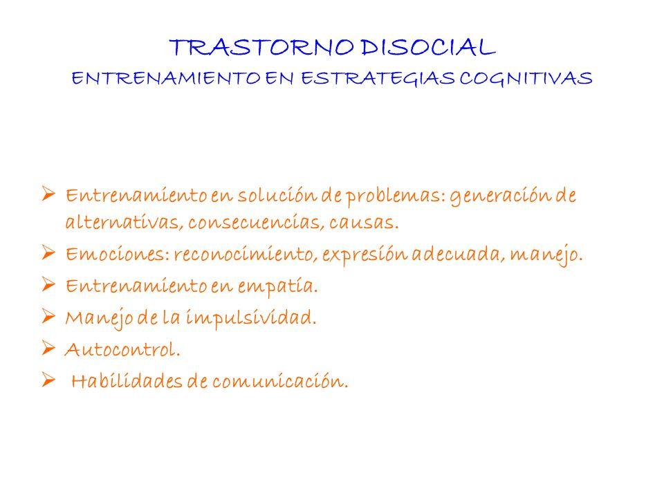 TRASTORNO DISOCIAL ENTRENAMIENTO EN ESTRATEGIAS COGNITIVAS Entrenamiento en solución de problemas: generación de alternativas, consecuencias, causas.