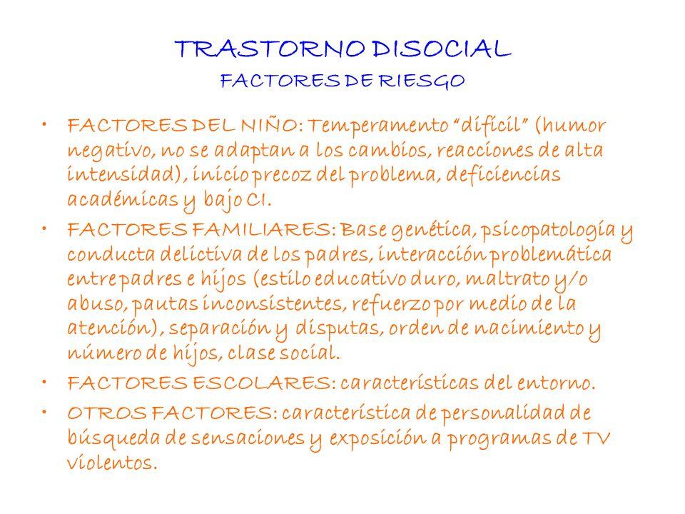TRASTORNO DISOCIAL TEORÍAS ETIOLÓGICAS Múltiples factores que convergen.