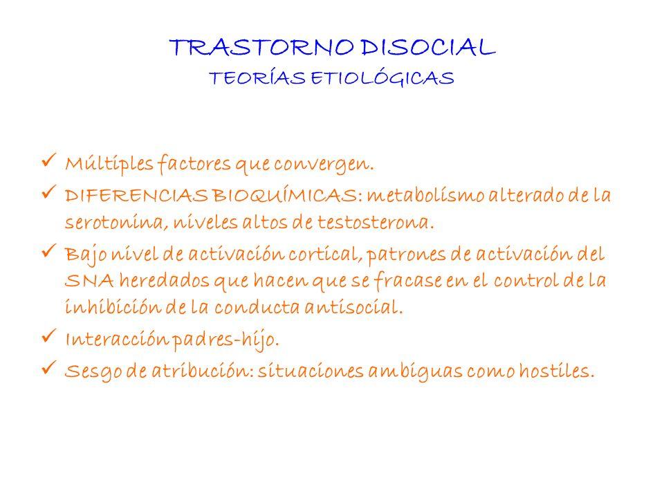 TRASTORNO DISOCIAL TEORÍAS ETIOLÓGICAS Múltiples factores que convergen. DIFERENCIAS BIOQUÍMICAS: metabolísmo alterado de la serotonina, niveles altos