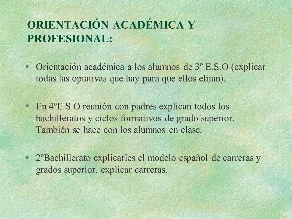 ORIENTACIÓN ACADÉMICA Y PROFESIONAL: §Orientación académica a los alumnos de 3º E.S.O (explicar todas las optativas que hay para que ellos elijan). §E