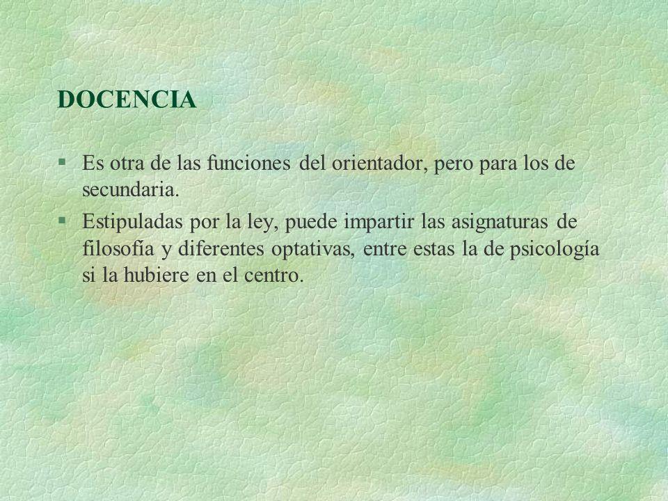 DOCENCIA §Es otra de las funciones del orientador, pero para los de secundaria. §Estipuladas por la ley, puede impartir las asignaturas de filosofía y