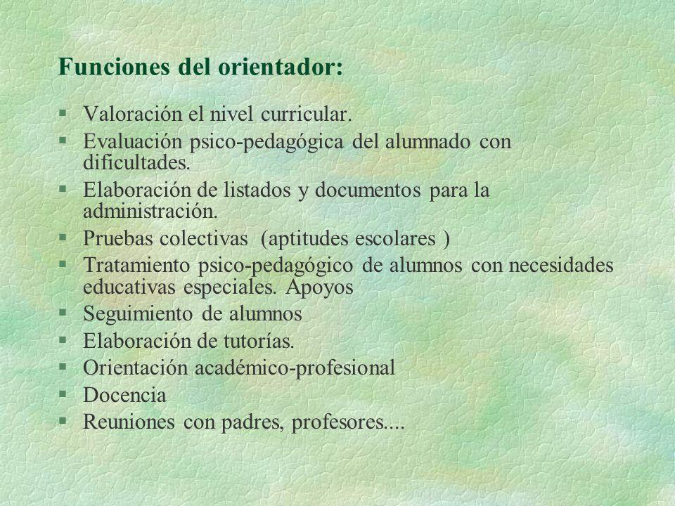 Funciones del orientador: §Valoración el nivel curricular. §Evaluación psico-pedagógica del alumnado con dificultades. §Elaboración de listados y docu