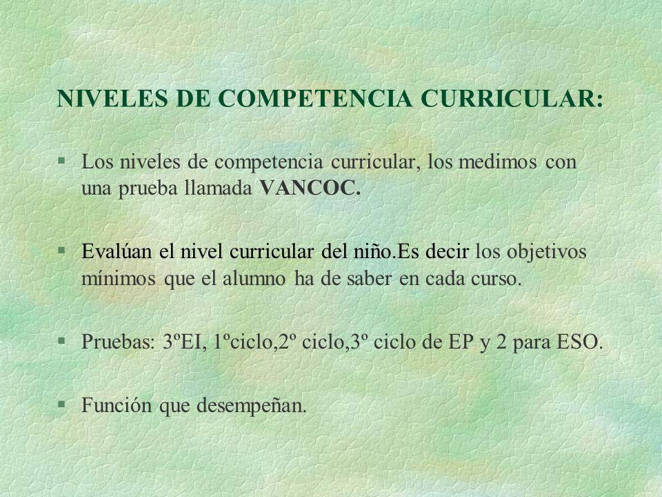 NIVELES DE COMPETENCIA CURRICULAR: Los niveles de competencia curricular, los medimos con una prueba llamada VANCOC. §Evalúan el nivel curricular del
