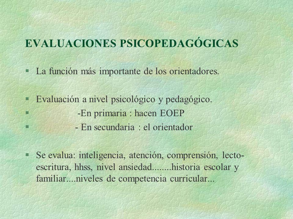 EVALUACIONES PSICOPEDAGÓGICAS §La función más importante de los orientadores. §Evaluación a nivel psicológico y pedagógico. § -En primaria : hacen EOE