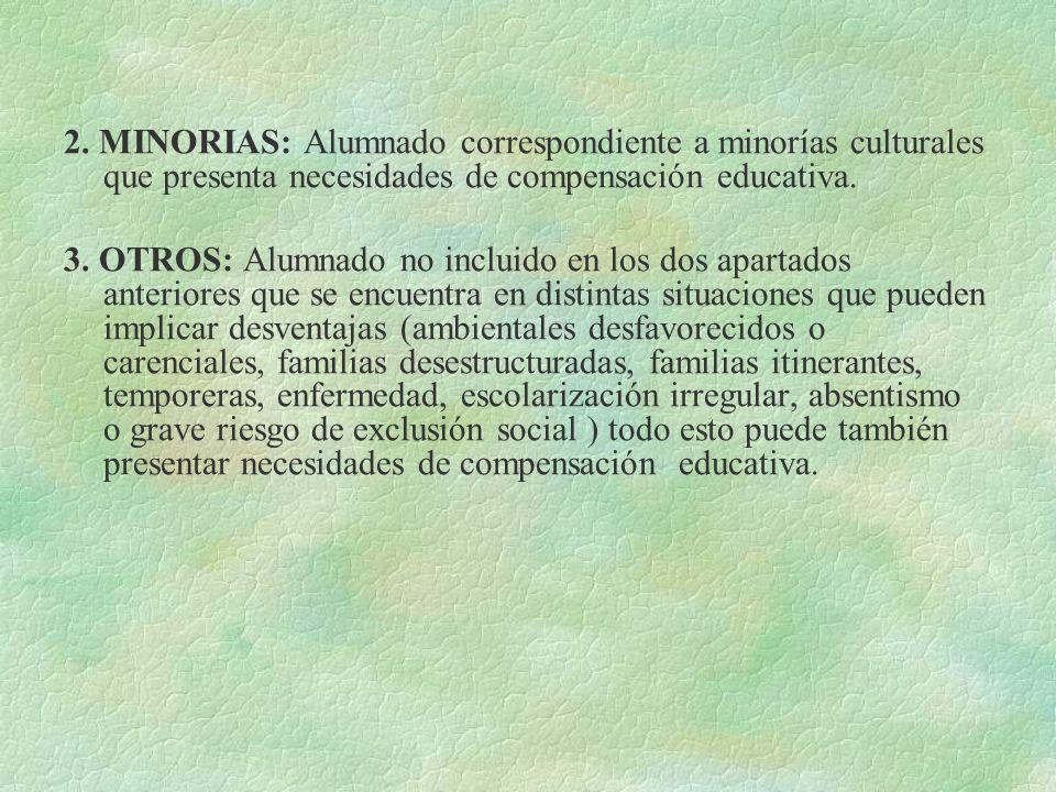 2. MINORIAS: Alumnado correspondiente a minorías culturales que presenta necesidades de compensación educativa. 3. OTROS: Alumnado no incluido en los