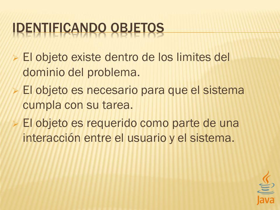 El objeto existe dentro de los limites del dominio del problema.