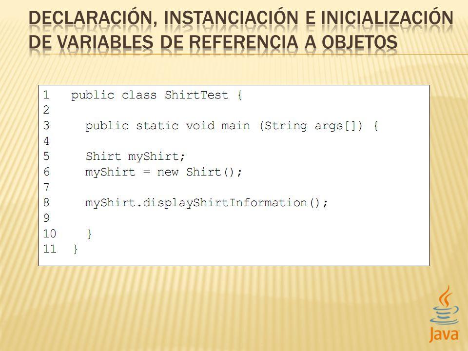 SINTAXIS Classname identifier; EJEMPLO Shirt myShirt;