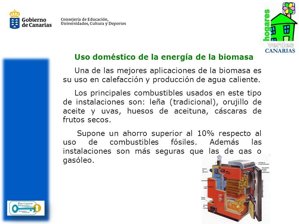 Uso doméstico de la energía de la biomasa Una de las mejores aplicaciones de la biomasa es su uso en calefacción y producción de agua caliente. Los pr