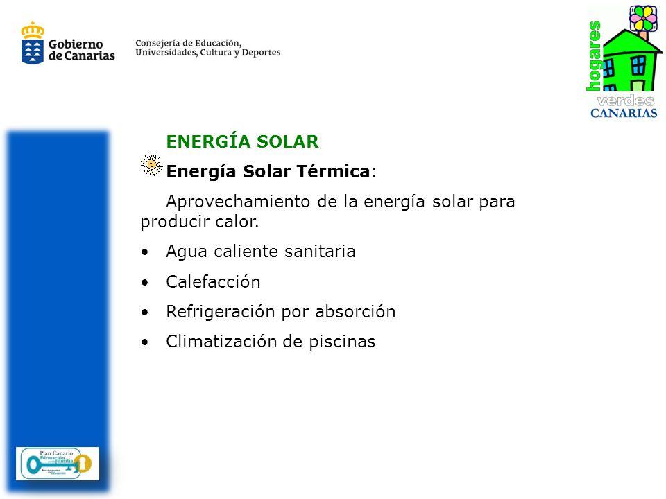 ENERGÍA SOLAR Energía Solar Térmica: Aprovechamiento de la energía solar para producir calor. Agua caliente sanitaria Calefacción Refrigeración por ab