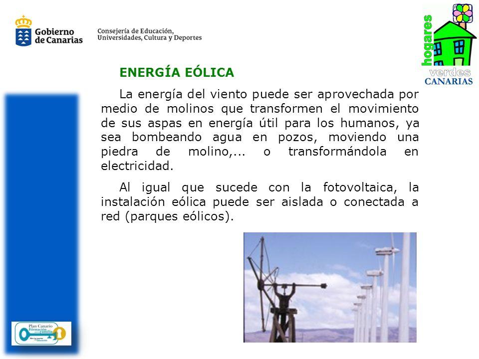 ENERGÍA EÓLICA La energía del viento puede ser aprovechada por medio de molinos que transformen el movimiento de sus aspas en energía útil para los hu