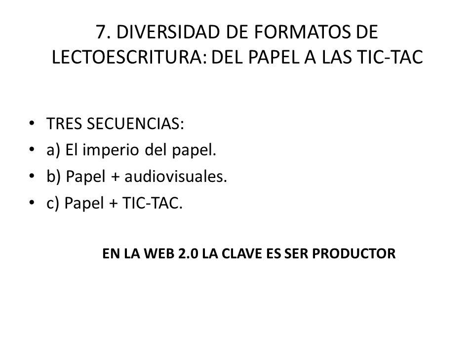 7. DIVERSIDAD DE FORMATOS DE LECTOESCRITURA: DEL PAPEL A LAS TIC-TAC TRES SECUENCIAS: a) El imperio del papel. b) Papel + audiovisuales. c) Papel + TI