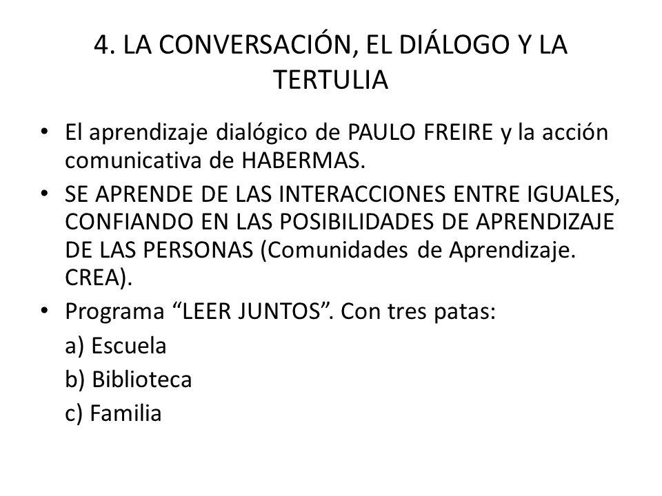 4. LA CONVERSACIÓN, EL DIÁLOGO Y LA TERTULIA El aprendizaje dialógico de PAULO FREIRE y la acción comunicativa de HABERMAS. SE APRENDE DE LAS INTERACC