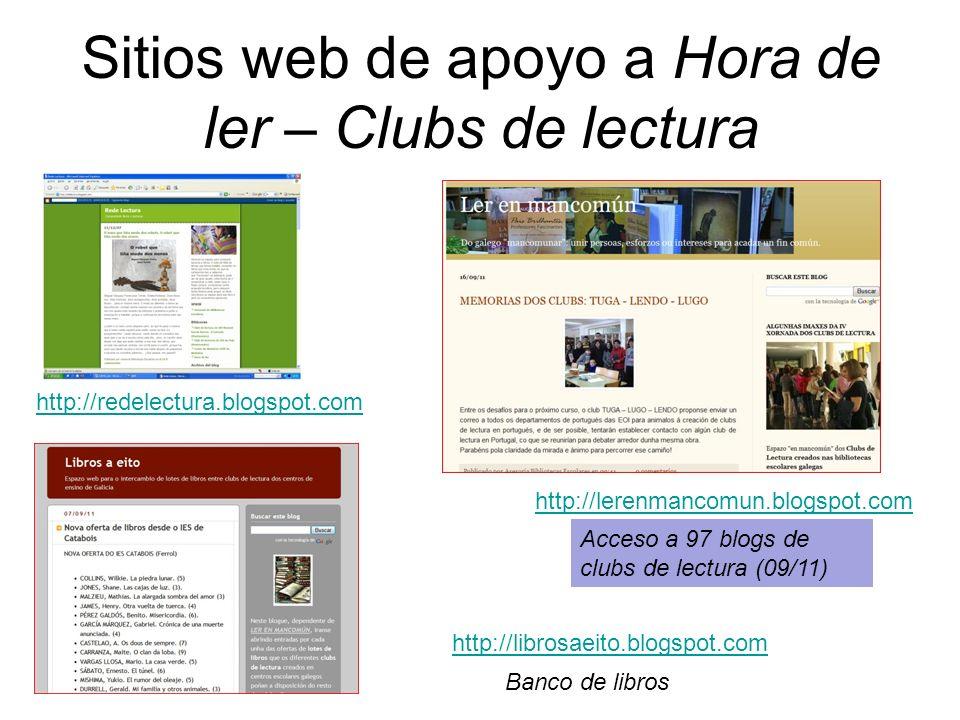 Sitios web de apoyo a Hora de ler – Clubs de lectura http://redelectura.blogspot.com http://librosaeito.blogspot.com http://lerenmancomun.blogspot.com