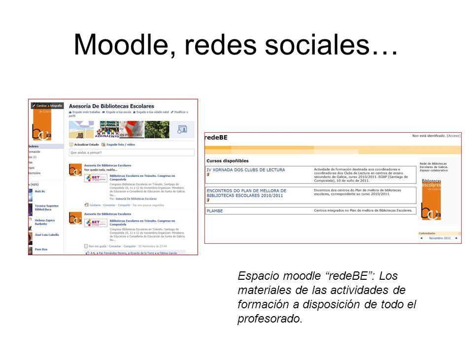 Moodle, redes sociales… Espacio moodle redeBE: Los materiales de las actividades de formación a disposición de todo el profesorado.