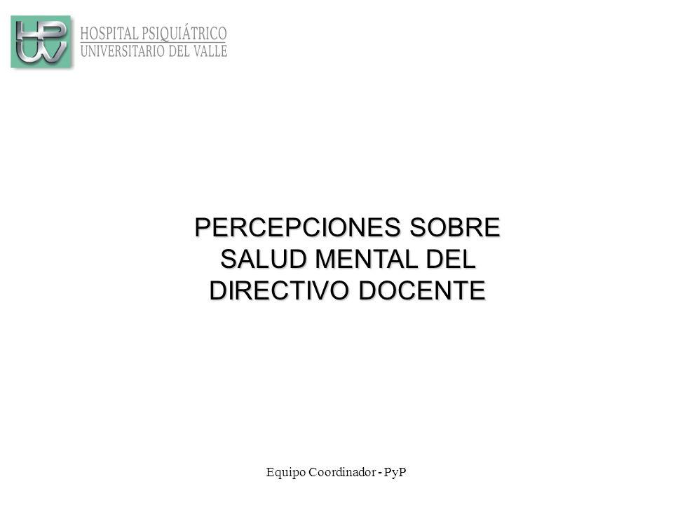 Equipo Coordinador - PyP PERCEPCIONES SOBRE SALUD MENTAL DEL DIRECTIVO DOCENTE