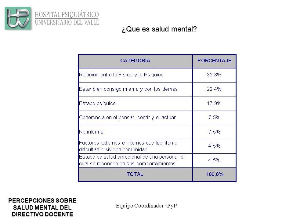 Equipo Coordinador - PyP ¿Que es salud mental.