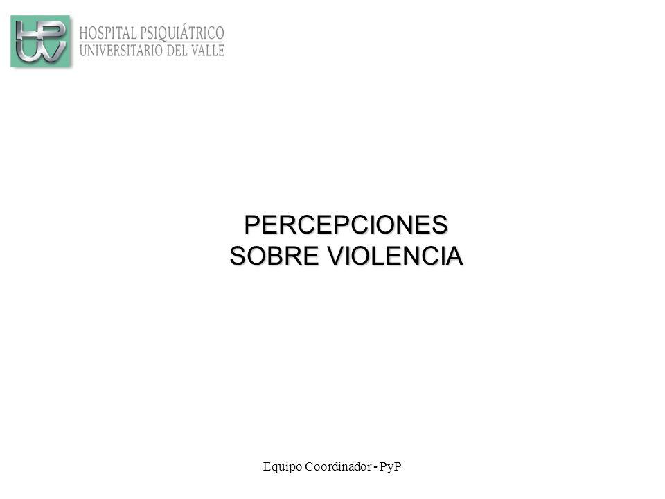 Equipo Coordinador - PyP PERCEPCIONES SOBRE VIOLENCIA