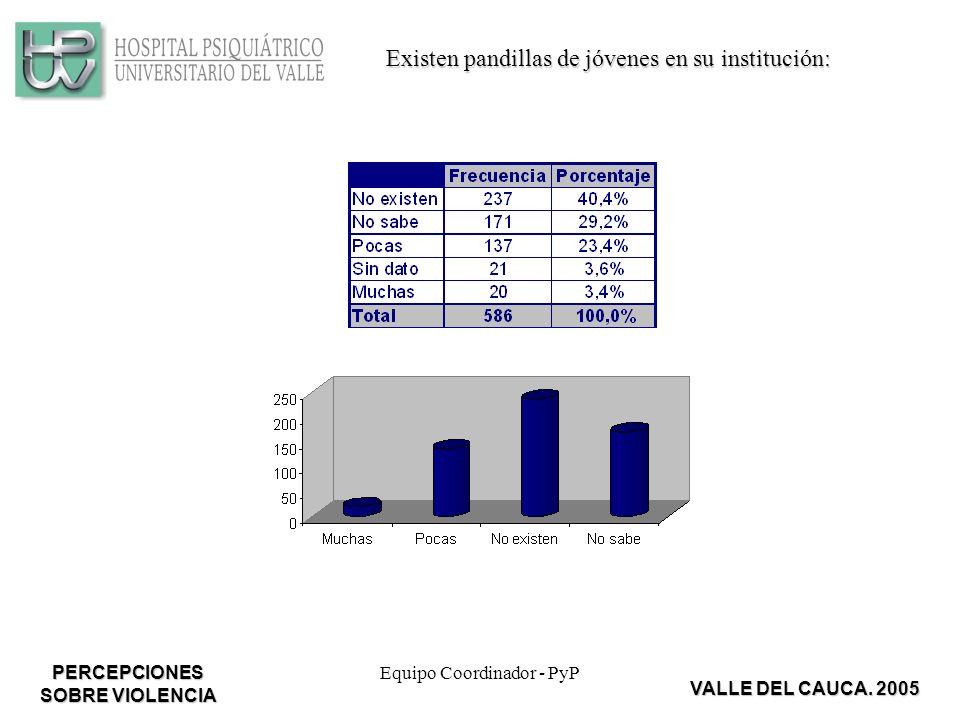 Equipo Coordinador - PyP Existen pandillas de jóvenes en su institución: VALLE DEL CAUCA.