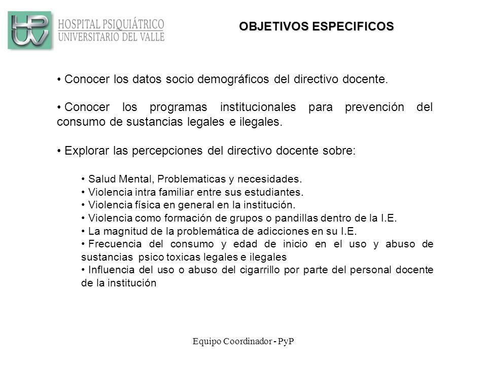 Equipo Coordinador - PyP Conocer los datos socio demográficos del directivo docente.