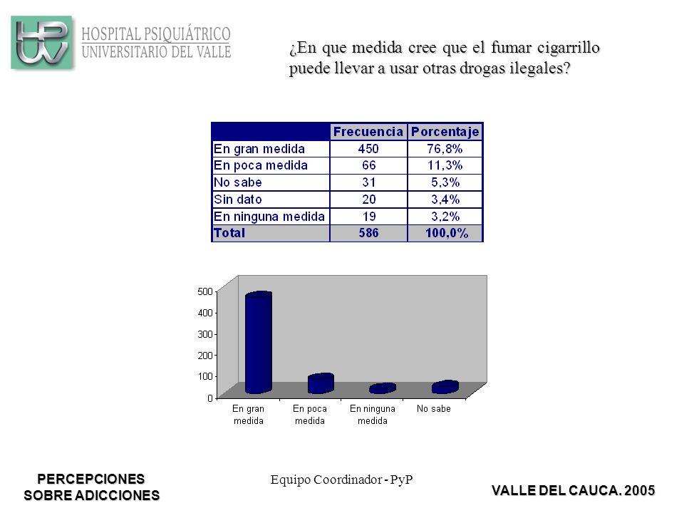 Equipo Coordinador - PyP ¿En que medida cree que el fumar cigarrillo puede llevar a usar otras drogas ilegales.