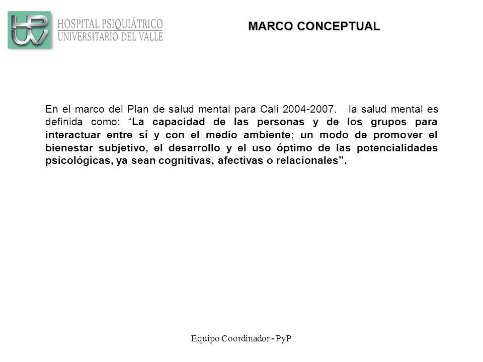 Equipo Coordinador - PyP MARCO CONCEPTUAL En el marco del Plan de salud mental para Cali 2004-2007.