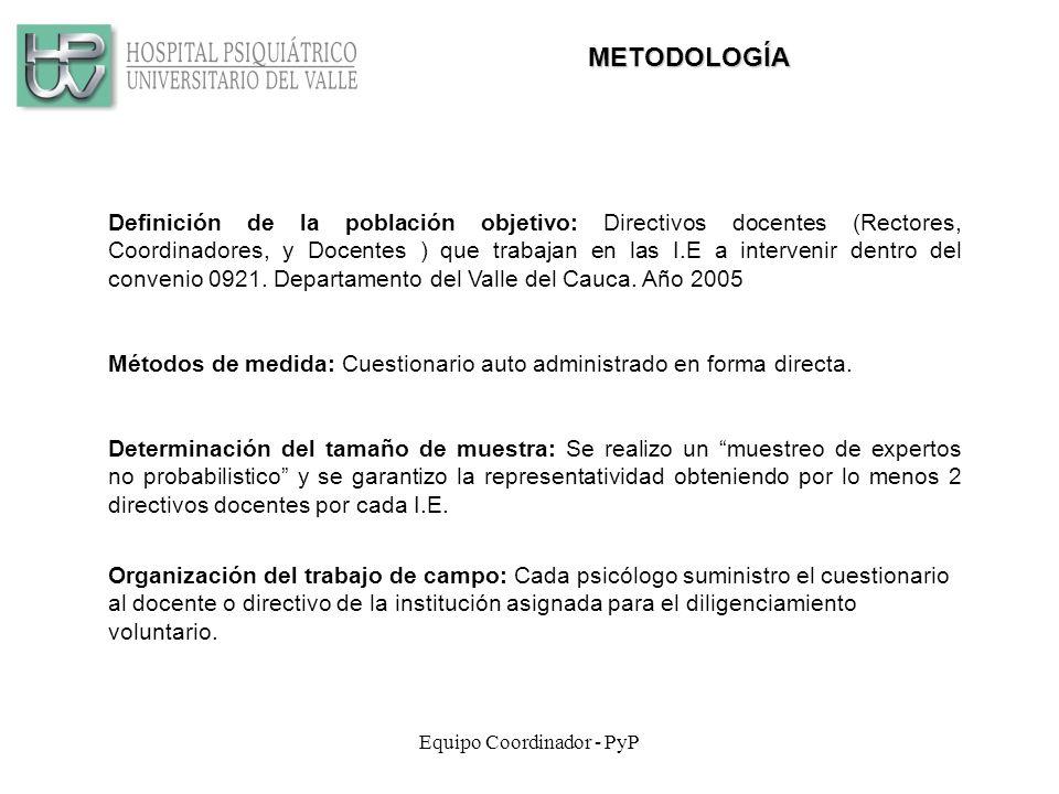 Equipo Coordinador - PyP METODOLOGÍA Definición de la población objetivo: Directivos docentes (Rectores, Coordinadores, y Docentes ) que trabajan en las I.E a intervenir dentro del convenio 0921.