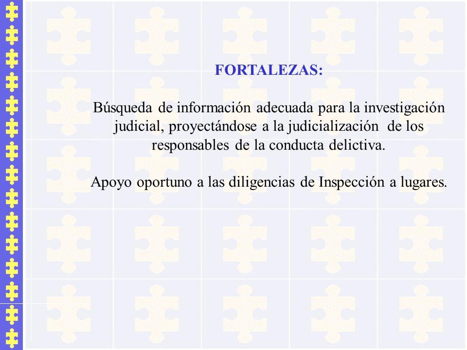 FORTALEZAS: Búsqueda de información adecuada para la investigación judicial, proyectándose a la judicialización de los responsables de la conducta del