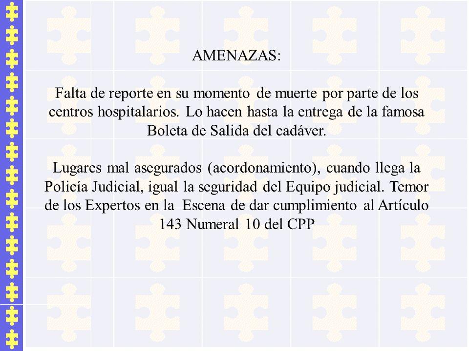 AMENAZAS: Falta de reporte en su momento de muerte por parte de los centros hospitalarios. Lo hacen hasta la entrega de la famosa Boleta de Salida del