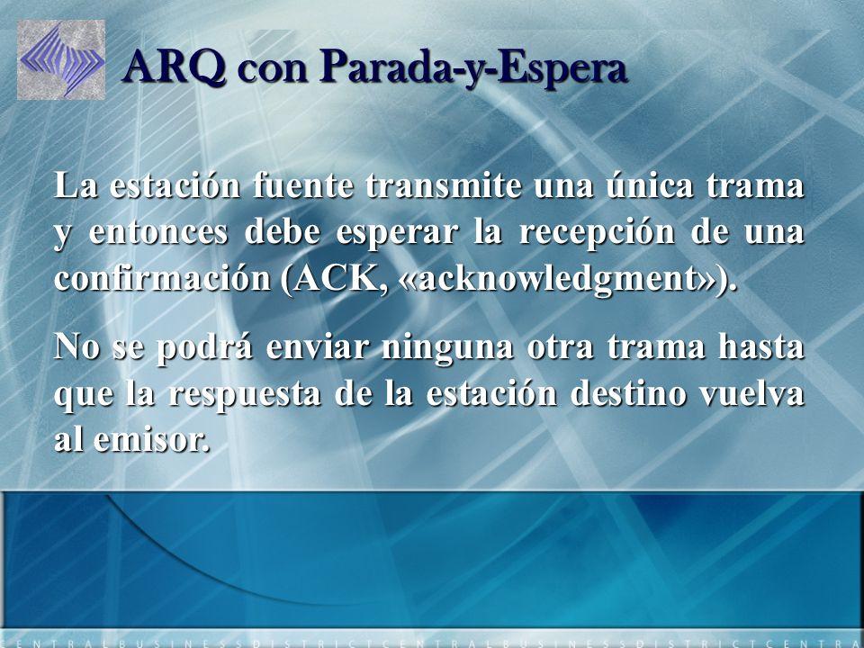 ARQ con Parada-y-Espera La estación fuente transmite una única trama y entonces debe esperar la recepción de una confirmación (ACK, «acknowledgment»).
