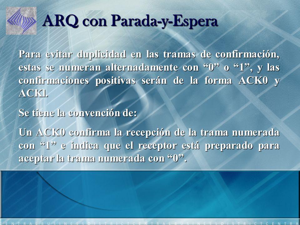 ARQ con Parada-y-Espera Para evitar duplicidad en las tramas de confirmación, estas se numeran alternadamente con 0 o 1, y las confirmaciones positivas serán de la forma ACK0 y ACKl.
