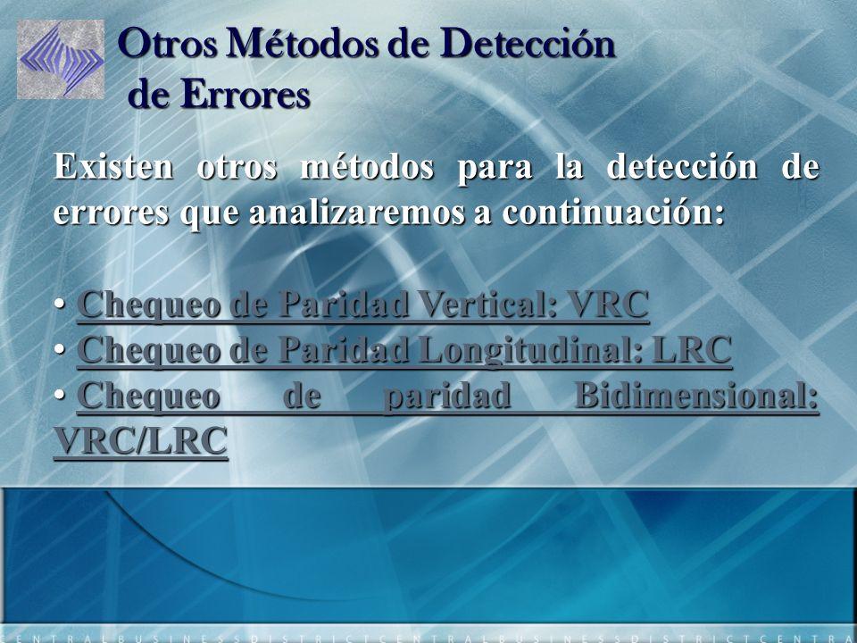 Otros Métodos de Detección de Errores Existen otros métodos para la detección de errores que analizaremos a continuación: Chequeo de Paridad Vertical: VRC Chequeo de Paridad Vertical: VRCChequeo de Paridad Vertical: VRCChequeo de Paridad Vertical: VRC Chequeo de Paridad Longitudinal: LRC Chequeo de Paridad Longitudinal: LRCChequeo de Paridad Longitudinal: LRCChequeo de Paridad Longitudinal: LRC Chequeo de paridad Bidimensional: VRC/LRC Chequeo de paridad Bidimensional: VRC/LRCChequeo de paridad Bidimensional: VRC/LRCChequeo de paridad Bidimensional: VRC/LRC