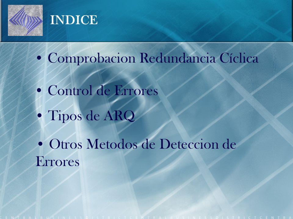 INDICE Comprobacion Redundancia Cíclica Control de Errores Tipos de ARQ Otros Metodos de Deteccion de Errores