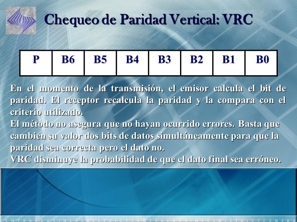Chequeo de Paridad Vertical: VRC En el momento de la transmisión, el emisor calcula el bit de paridad.