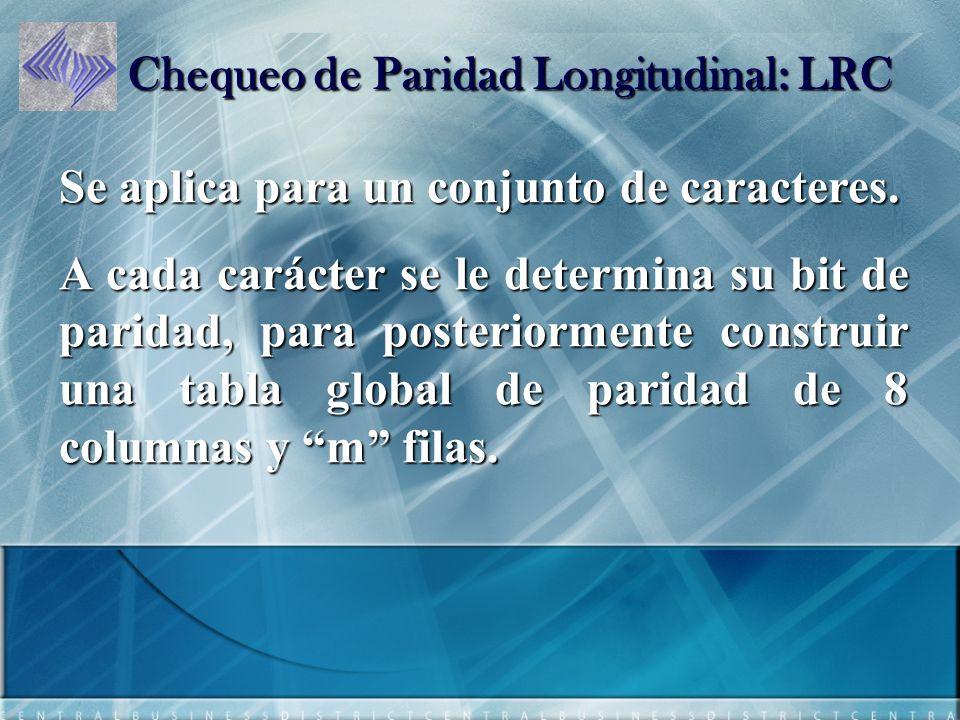 Chequeo de Paridad Longitudinal: LRC Se aplica para un conjunto de caracteres.