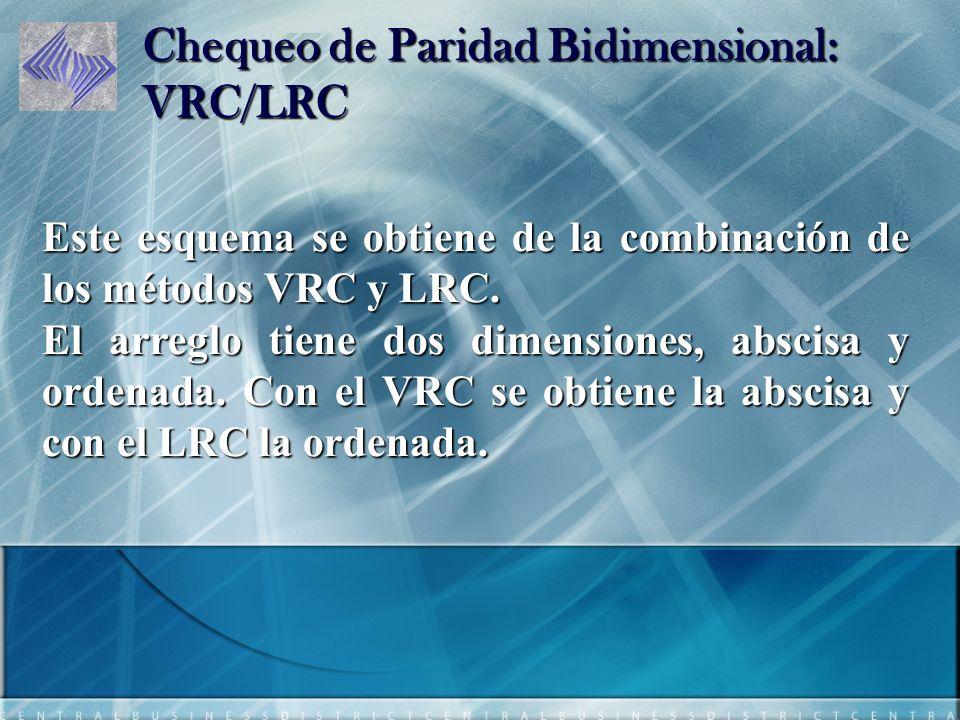 Chequeo de Paridad Bidimensional: VRC/LRC Este esquema se obtiene de la combinación de los métodos VRC y LRC.