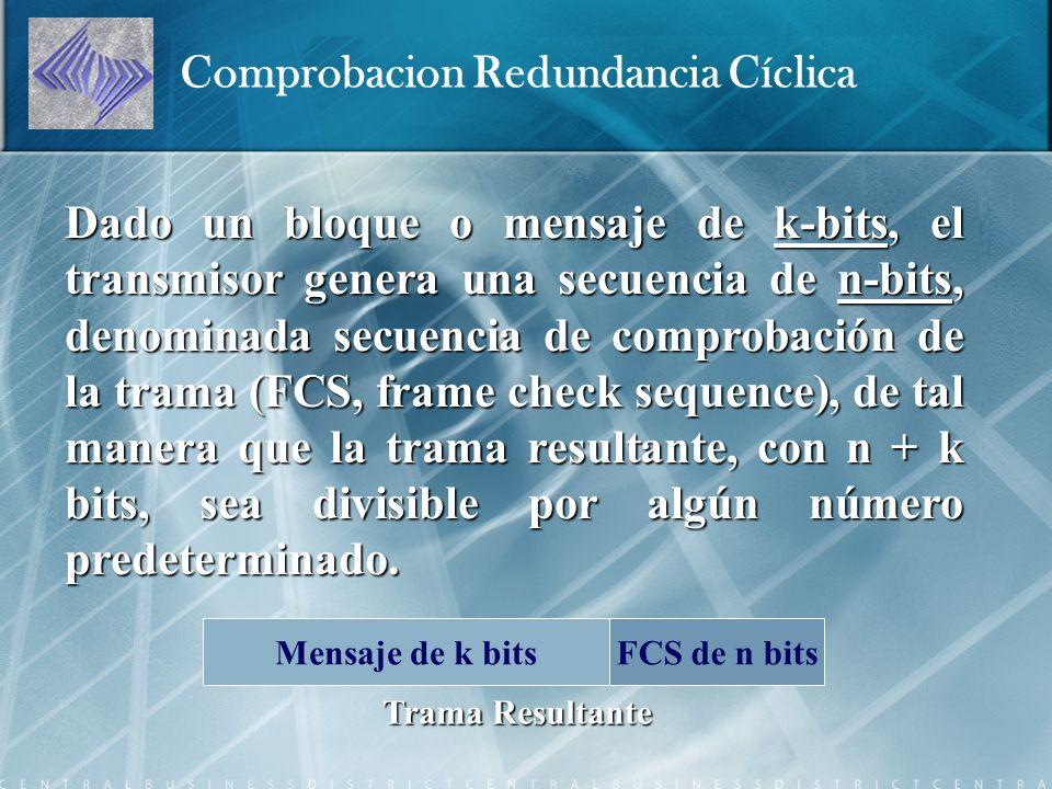 Dado un bloque o mensaje de k-bits, el transmisor genera una secuencia de n-bits, denominada secuencia de comprobación de la trama (FCS, frame check sequence), de tal manera que la trama resultante, con n + k bits, sea divisible por algún número predeterminado.