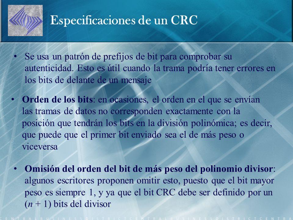 Especificaciones de un CRC Se usa un patrón de prefijos de bit para comprobar su autenticidad.