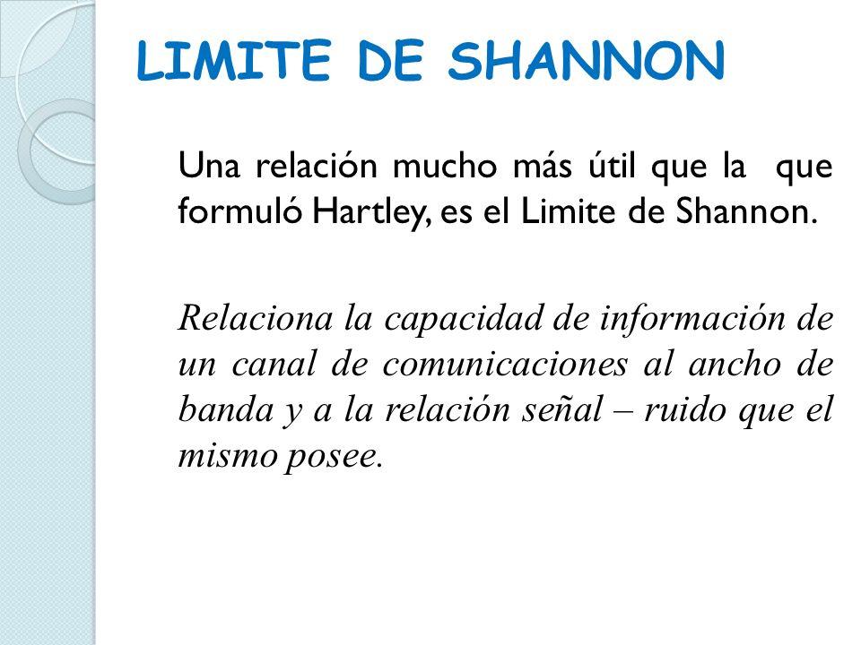 LIMITE DE SHANNON Esto es, en forma de ecuación: donde: I: capacidad de información (bps).