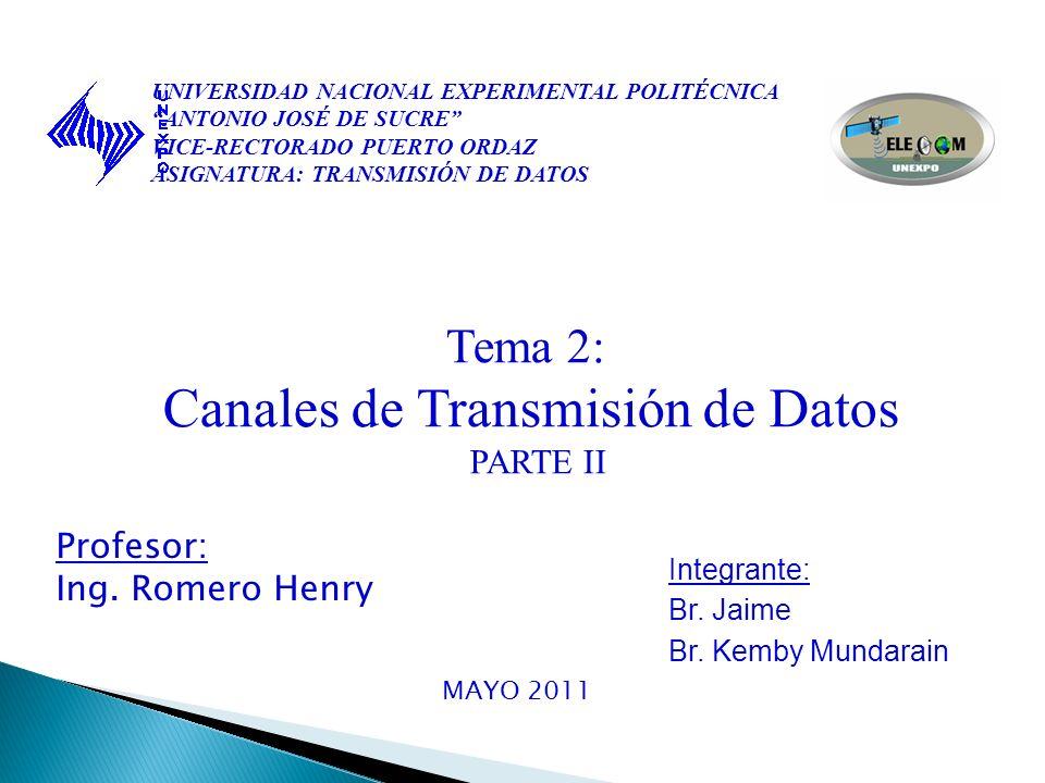 UNIVERSIDAD NACIONAL EXPERIMENTAL POLITÉCNICA ANTONIO JOSÉ DE SUCRE VICE-RECTORADO PUERTO ORDAZ ASIGNATURA: TRANSMISIÓN DE DATOS Tema 2: Canales de Transmisión de Datos PARTE II Profesor: Ing.