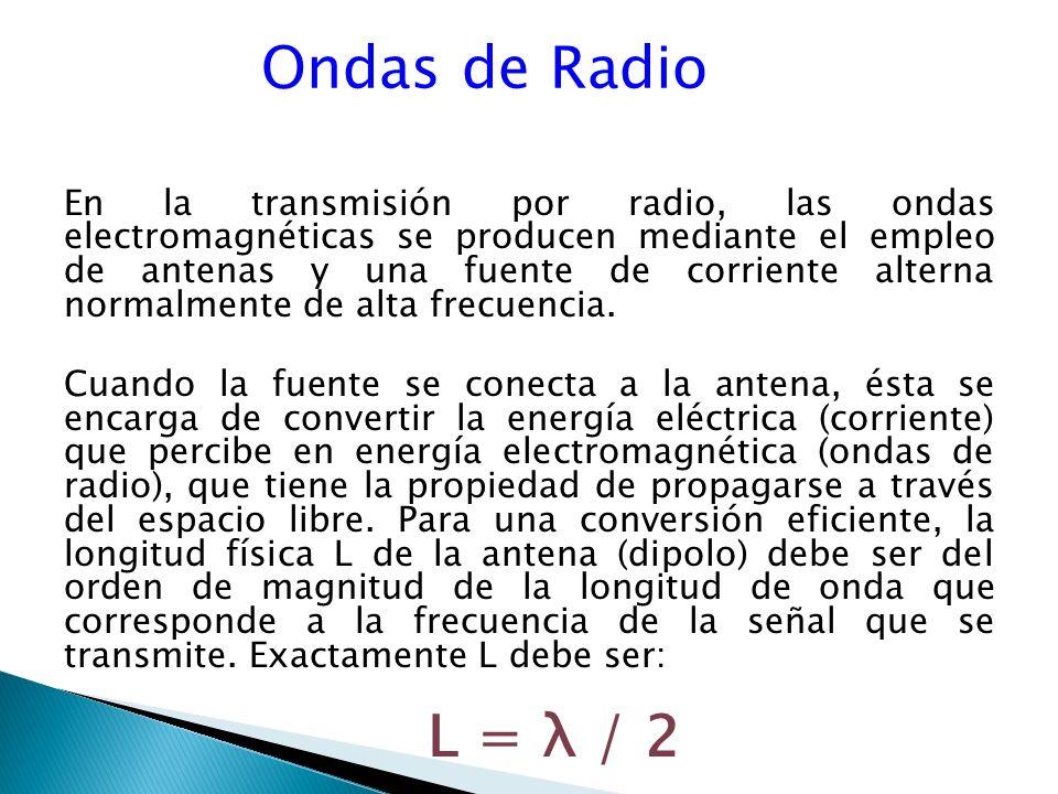 Ondas de Radio En la transmisión por radio, las ondas electromagnéticas se producen mediante el empleo de antenas y una fuente de corriente alterna normalmente de alta frecuencia.