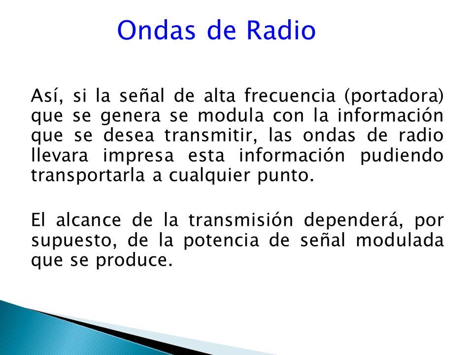 Ondas de Radio Así, si la señal de alta frecuencia (portadora) que se genera se modula con la información que se desea transmitir, las ondas de radio llevara impresa esta información pudiendo transportarla a cualquier punto.