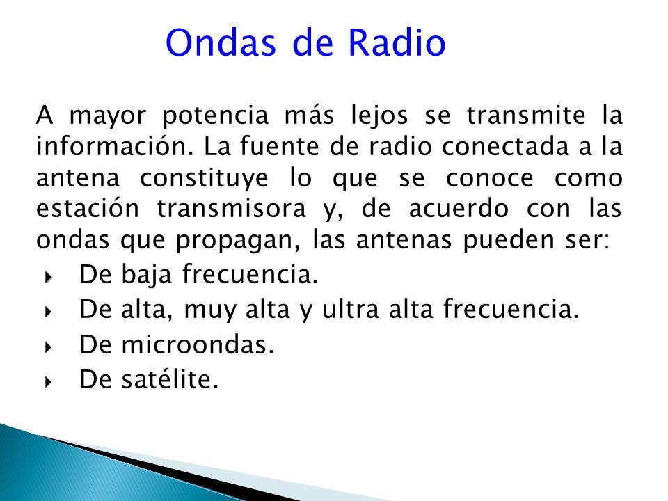 Ondas de Radio A mayor potencia más lejos se transmite la información.