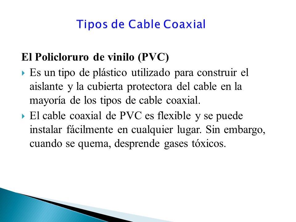 El Policloruro de vinilo (PVC) Es un tipo de plástico utilizado para construir el aislante y la cubierta protectora del cable en la mayoría de los tipos de cable coaxial.