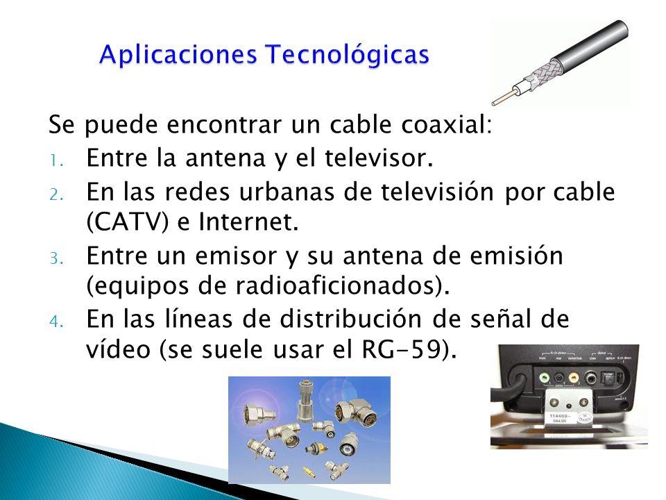 Se puede encontrar un cable coaxial: 1.Entre la antena y el televisor.