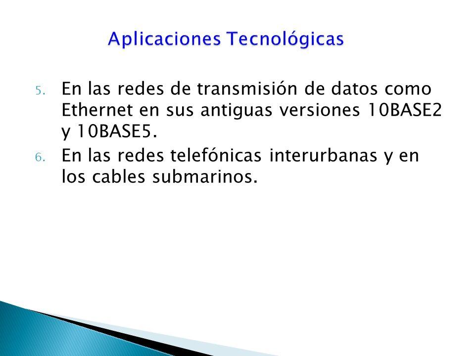 5.En las redes de transmisión de datos como Ethernet en sus antiguas versiones 10BASE2 y 10BASE5.