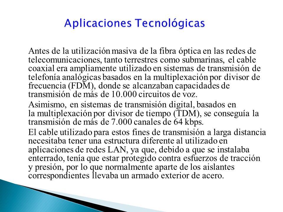 Antes de la utilización masiva de la fibra óptica en las redes de telecomunicaciones, tanto terrestres como submarinas, el cable coaxial era ampliamente utilizado en sistemas de transmisión de telefonía analógicas basados en la multiplexación por divisor de frecuencia (FDM), donde se alcanzaban capacidades de transmisión de más de 10.000 circuitos de voz.