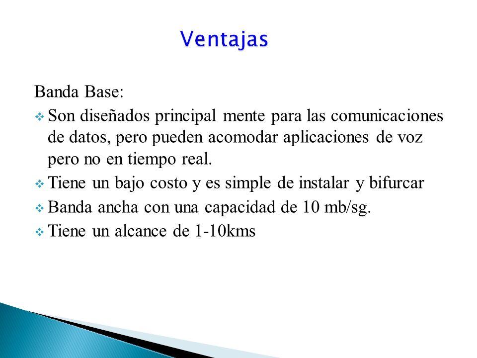Banda Base: Son diseñados principal mente para las comunicaciones de datos, pero pueden acomodar aplicaciones de voz pero no en tiempo real.