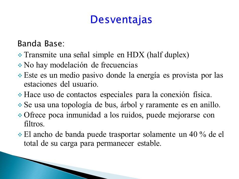 Banda Base: Transmite una señal simple en HDX (half duplex) No hay modelación de frecuencias Este es un medio pasivo donde la energía es provista por las estaciones del usuario.